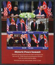 Tuvalu 2018 MNH Peace Summit Donald Trump Kim Jong-un 4v M/S Presidents Stamps