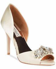 Champagne fabric Jeweled heel Badgley Mischka peep Toe Heels Size 10 Box no lid