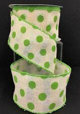 "Linen Waffle Style Wired Edge Dot Ribbon~Green, Cream~2 1/2""W x 10 yd"