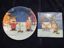 Peanuts Charlie Brown Christmas Dessert Plates & Beverage Napkins-New In Package
