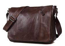 100% Genuine real Leather laptop Bag Messenger man handbag brown vintage Student