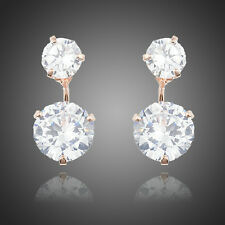 Luxury Designer Sparkly Shiny Clear White Zircon Round Rose Gold Plated Earrings