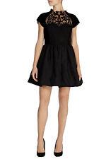 COAST black velvet jacquard fit&flare full skirt dress baroque gothic lolita 16