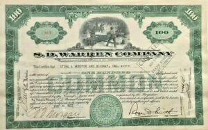 S. D. Warren Company > Massachusetts lumber stock certificate