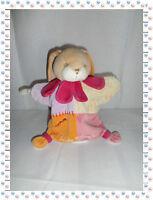 O - Doudou Semi Plat Marionnette Lapin Rose Orange Mauve .. Doudou et  Compagnie