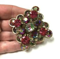 "Vintage Ornate ""CATHE"" Brooch Pink Givre Glass Rhinestone Gold Tone Pin ii164o"