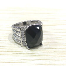NEW David Yurman 925 Sterling Silver Onyx Diamond Wheaton Ring Size 7