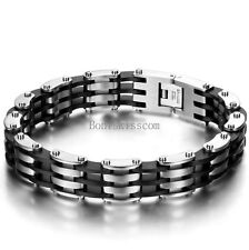 Black Silicone Silver Stainless Steel Motorcycle Chain Bracelet Mens Wristband