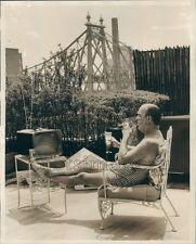 1962 1960s NYC Man Enjoys Beer & Cigar on Terrace Queensboro Bridge Press Photo