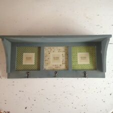 Shabby Chic, Rustic Country Wall Shelf With 3 Photo Frames & Hooks Antique Blue
