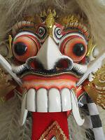 VERY LARGE BALINESE DEVIL MASK RANGDA BARONG INDONESIAN DANCE MASK W/ WHITE HAIR
