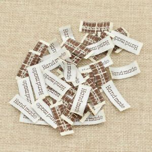 50X Handmade Woven Labesl Tags Fabric Garment Sewing Embroidery DIY Accessories