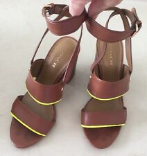 Coach Sandals Ankle Strap Saddle/Glow Lime Trim ,Heels Leather Strappy Women 5 B
