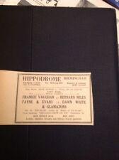 G2-1 Ephemera 1953 Advert Birmingham Hippodrome Frankie Vaughan Dawn White