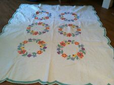 """QUILT LOT ANTIQUE OLD Sz FULL TWIN 88X80"""" Floral Ring Circle"""