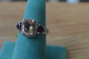 4.57ct Peach Quartz / Rhodolite Garnet Ring Platinum over Sterling Silver Sz 9
