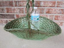 Green Oval Basket w/ Handle Basket Wood Wicker Crafts Home Decor  Primative