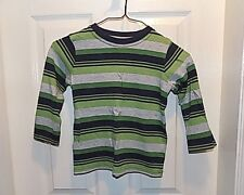 Jumping Beans Boys striped long sleeve Shirt Size 4  green blue gray