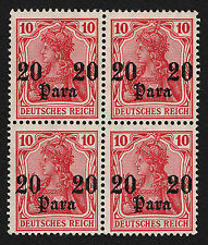 OPC 1906 German Offices in Turkey Sc#44 Mi#37 Block of 4 Lightly Hinged