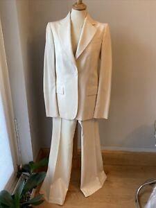 Gucci Single button Cream Jacket (IT40) matchingwide leg Trouser (IT44) Suit