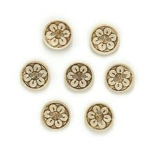 """Pkg of 20 Flower 2-hole Coconut Shell Buttons 1/2"""" (13mm) Craft (1134)"""