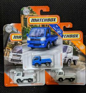 LOT of TWO Matchbox 2014 & 2019 Subaru Sambar Pickup Truck White & Blue