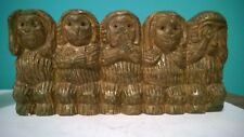 """ANTIQUE AFRICAN - """"FIVE CHARACTER MONKEY'S"""" FIGURINE  10 34 """"L X 5 1/4 , 1.8 lb."""