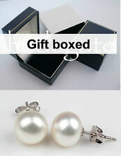 Real white freshwater pearl stud earings ear rings silver back new in gift box