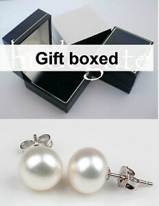 Real white freshwater pearl stud earrings ear rings silver back new gift boxed