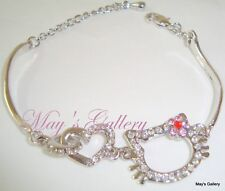 Hello Kitty Rhinestone  Bracelet Bangle Silver Charms Charm Bling Bling Girl NIB