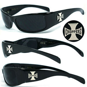Choppers Mens Motorcycle Biker Sunglasses UV400 - Shiny Black Frame C11 B