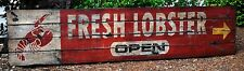Fresh Lobster Seafood Open Sign - Rustic Hand Made Vintage Wooden Sign