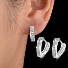Christmas Gift Women's 925 Sterling Silver Zircon Heart Ear Hoop Earrings