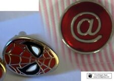 """TWO PAIRS of chrome T-Bar CUFFLINKS with """"@"""" and Spiderman designs"""