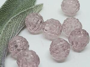 Vintage Textured Lavender Purple Transparent Glass Beads DIY Jewelry Making