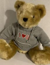 "Prima Creations Soft Golden Teddy Bear Plush in Gray I Love U Hoodie 13"" Sitting"