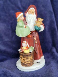 Vintage HOMCO Santa Claus Figurine 5118 Christmas Girl Bear Porcelain Holiday