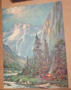 Vintage Wooden Jigsaw Puzzle Complete Mountain Splendor 348 pieces 12x16