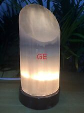 "9"" Selenite Lamp Lipstick Tower Fossil Base Gemstone Slant Top Crystal Lamp Gift"