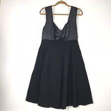 Torrid Womens 12 Polka Dot Swing Dress Black White Sleeveless Fit Flare Pin Up