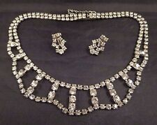 Vintage Antique Art Deco Clear Prong Set Rhinestone Necklace & Screw Bk Earrings