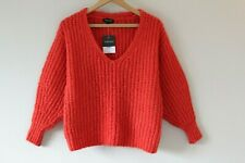 Brand New Womens Topshop Red Knitted Wool V-Neck Jumper | Size 6
