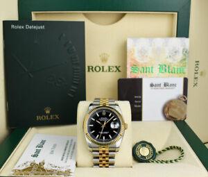 ROLEX - REHAUT 18kt GOLD & SS DateJust 36mm Black Index 116233 - SANT BLANC