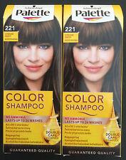 Schwarzkopf Palette Color Shampoo 221 Middle Brown Demi-Permanent Hair Dye 2x