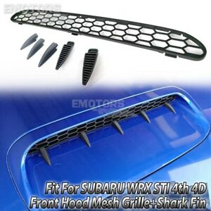 15-21 Fit For SUBARU WRX STI 4th 4D Saloon Front Hood Mesh Grille+Shark Fin Blac