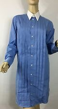 Ralph Lauren Polo Monogrammed Shirt Dress 8 Blue White Cotton Pleated New