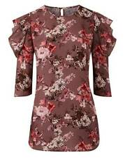 Capsule Simply Be Floral Frill Cold Shoulder Blouse Size 18 BNWT RRP £24.95 Plum
