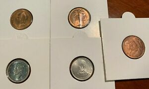 Dominican Rep.  1 centavo(3 coins) and 10 centavos(2 coins)  1957-1986