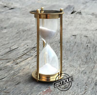 Vintage Brass Small Glass Sand Timer Shiny Hourglass Game Toy Desk 1 minute