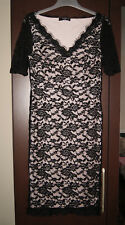 Brand New Ladies Laced Short Sleeved Bodycon Midi Occasional Dress Size 12